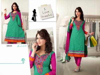 2109-Designer Cyan Neck Embroidered Long Anarkali Suit