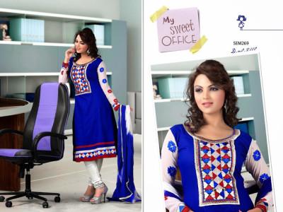 2110-Designer Blue Neck Embroidered Long Anarkali Suit