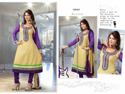 2112-Designer Cream Neck Embroidered Long Anarkali Suit